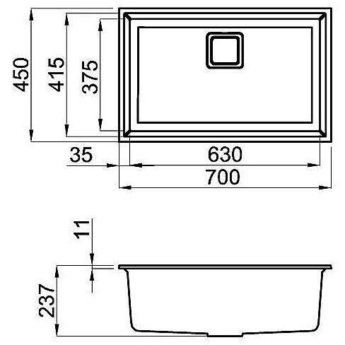 lgk12055bsc elleci lavello karisma 120 70x50 1 vasca grigio 55 sottotop con troppo pieno