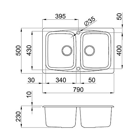 lgm35053 elleci lavello master 350 79x50 2 vasche terra 53