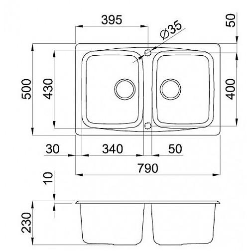 lgm35059 elleci lavello master 350 79x50 2 vasche antracite 59