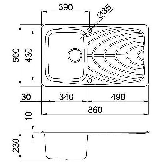 lgm40054 elleci lavello master 400 86x50 1 vasca nero 54