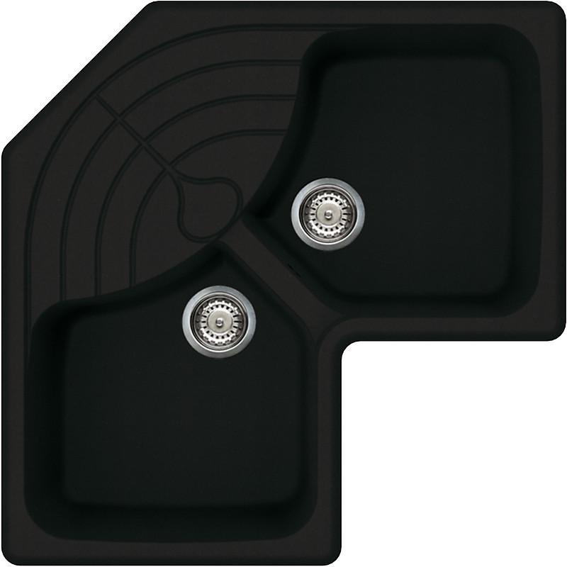 lgmcor40 elleci lavello master corner 83x83 2 vasche full black 40