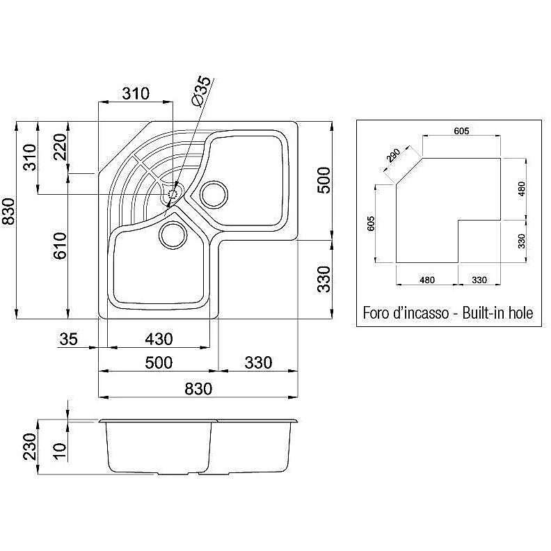 lgmcor54 elleci lavello master corner 83x83 2 vasche nero 54