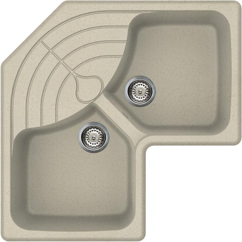 lgmcor57 elleci lavello master corner 83x83 2 vasche pietra vecchia 57