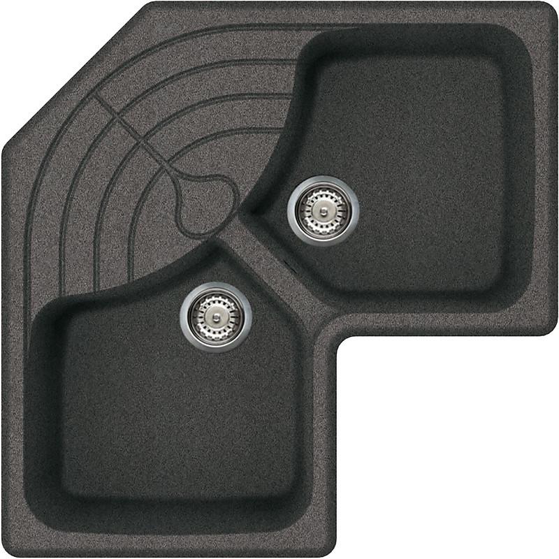 lgmcor58 elleci lavello master corner 83x83 2 vasche grigio ambra 58