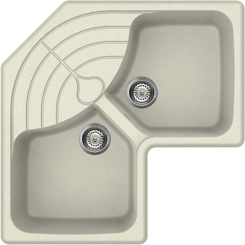 lgmcor62 elleci lavello master corner 83x83 2 vasche bianco antico 62