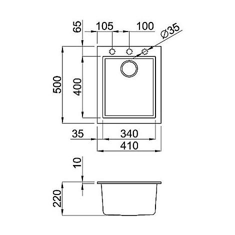 lgq10052bso elleci lavello quadra 100 38x44 1 vasca bianco 52 sotto top