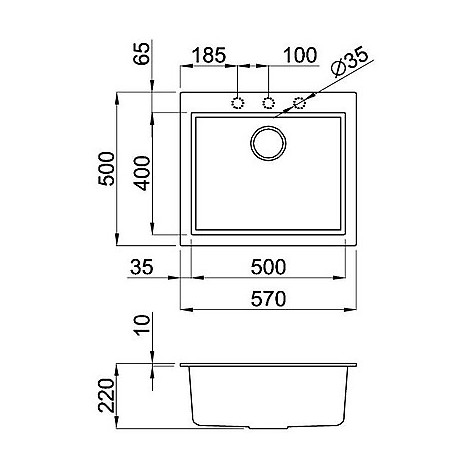 lgq10553 elleci lavello quadra 105 57x50 1 vasca terra 53