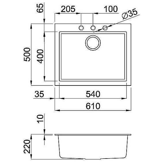 lgq11054 elleci lavello quadra 110 61x50 1 vasca nero 54