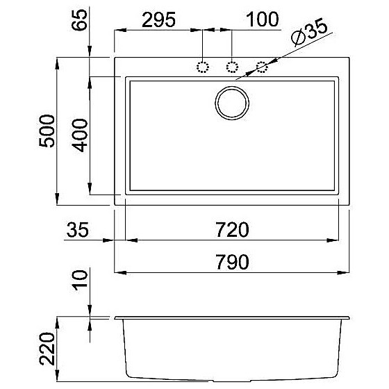 lgq13053 elleci lavello quadra 130 79x50 1 vasca terra 53