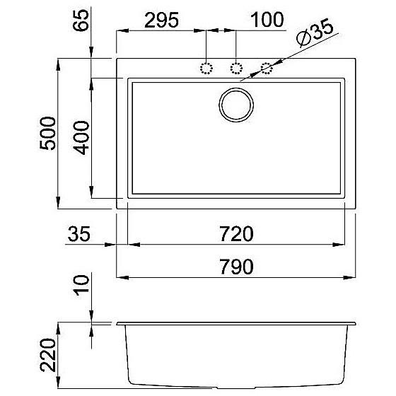 lgq13054bso elleci lavello quadra 130 76x44 1 vasca nero 54 sotto top