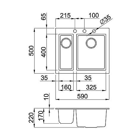 lgq15052bso elleci lavello quadra 150 59x50 2 vasche bianco 52 sotto top