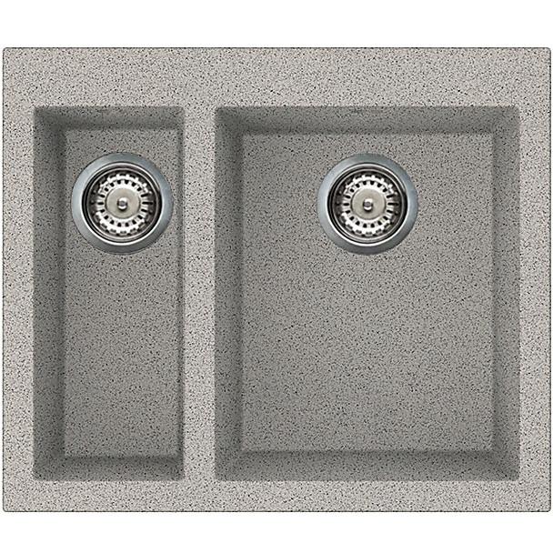 lgq15055 elleci lavello quadra 150 59x50 2 vasche grigio 55