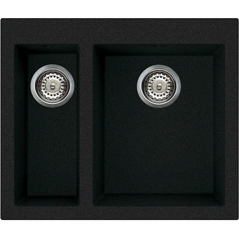 lgq15059 elleci lavello quadra 150 59x50 2 vasche antracite 59