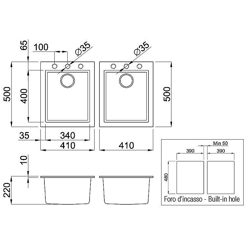 lgq20059bso elleci lavello quadra 200 2 vasche antracite 59 sotto top