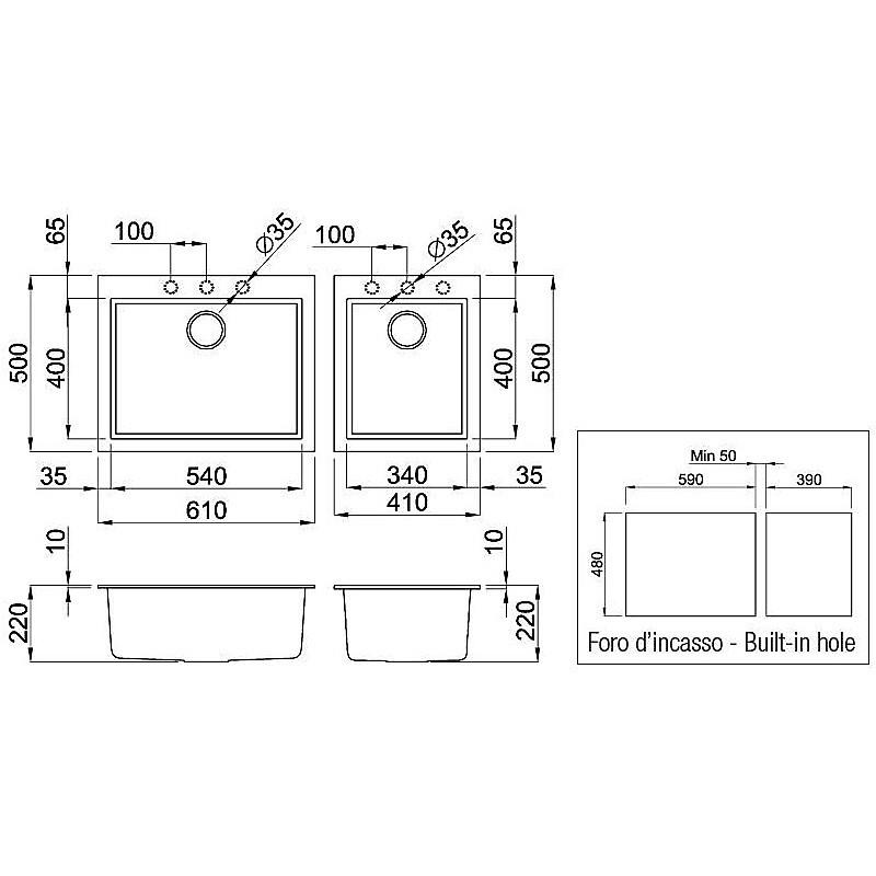 lgq21055 elleci lavello quadra 210 2 vasche grigio 55
