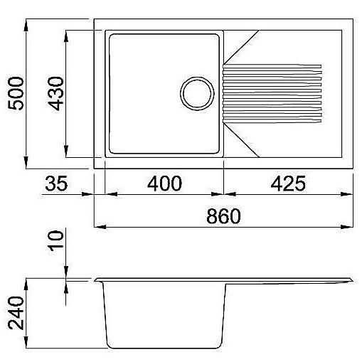 lgt40055 elleci lavello tekno 400 86x50 1 vasca grigio 55