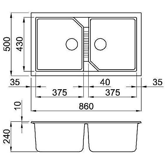 lgt45054 elleci lavello tekno 450 86x50 2 vasche nero 54