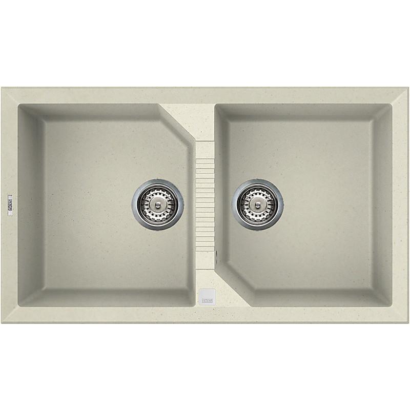 lgt45062 elleci lavello tekno 450 86x50 2 vasche bianco antico 62