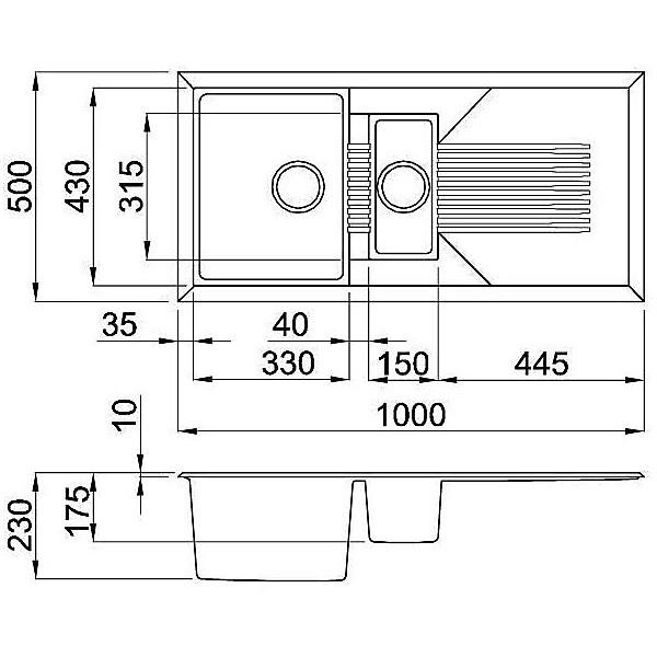 lgt47554 elleci lavello tekno 475 100x50 2 vasche nero 54