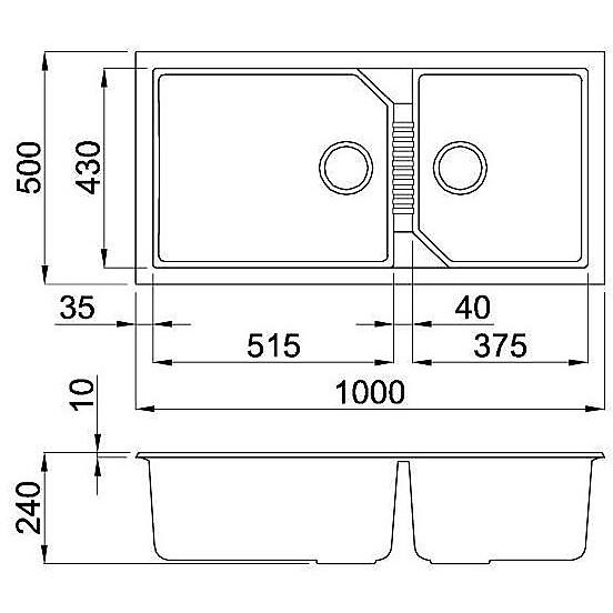 lgt49055 elleci lavello tekno 490 100x50 2 vasche grigio 55