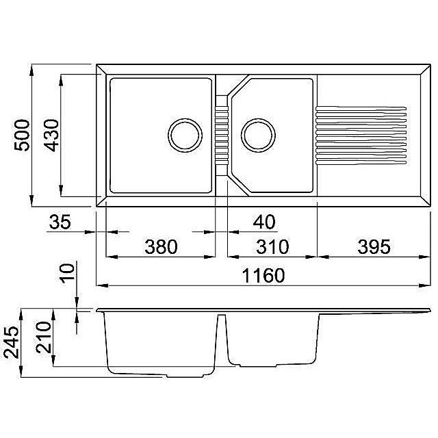 lgt50059 elleci lavello tekno 500 116x50 2 vasche antracite 59