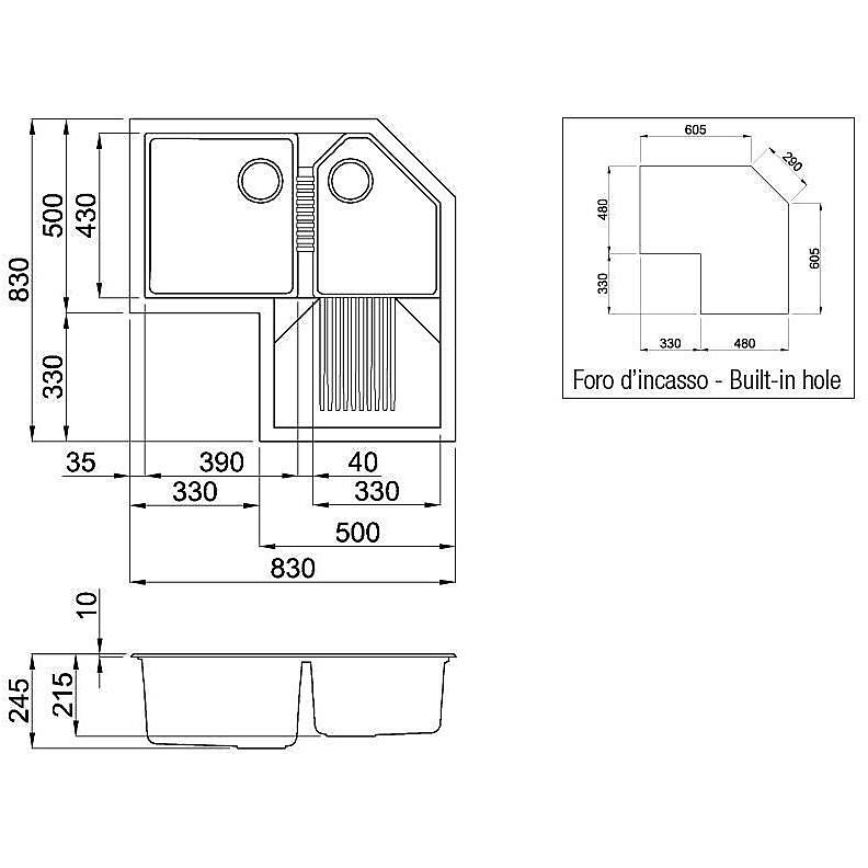 lgtcor54 elleci lavello tekno corner 83x83 2 vasche nero 54