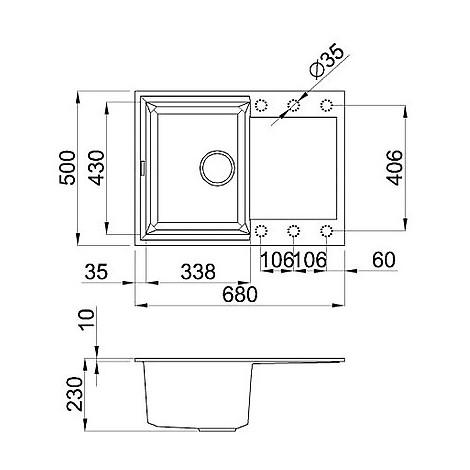 lgy13555 elleci lavello easy 135 68x50 1 vasca grigio 55