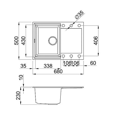 lgy13561 elleci lavello easy 135 68x50 1 vasca pietra antica 61