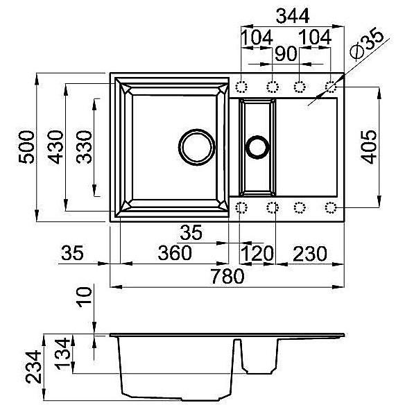 lgy32553 elleci lavello easy 325 78x50 2 vasche terra 53