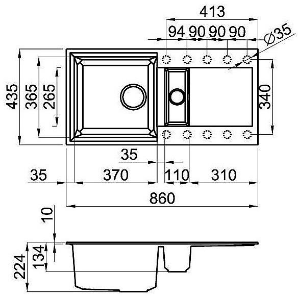 lgy42555 elleci lavello easy 425 86x43,5 2 vasche grigio 55