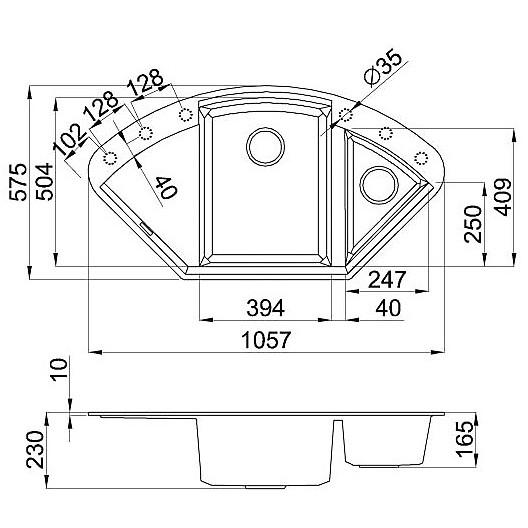 lgycor59 elleci lavello easy corner 105.7x57.5 2 vasche antracite 59