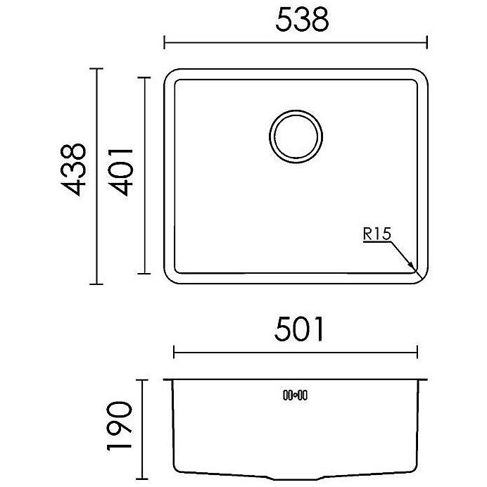 "lic500sacun15 ellecilavello inox space 500 538x438 1 vasca satinato cartone sottotop r15"""