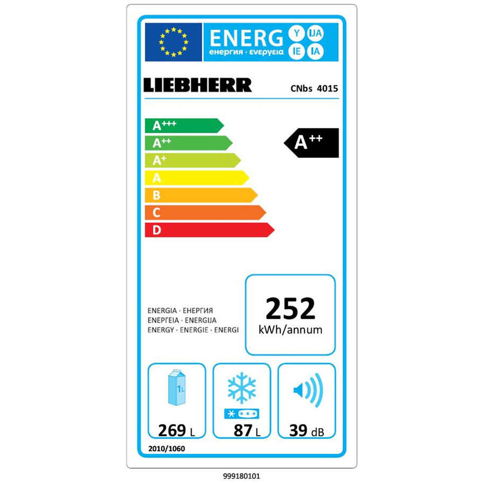 Liebherr CNbs 4015 Frigo Combinato 356 L Classe A++ Ventilato/ NoFrost Colore BlackSteel