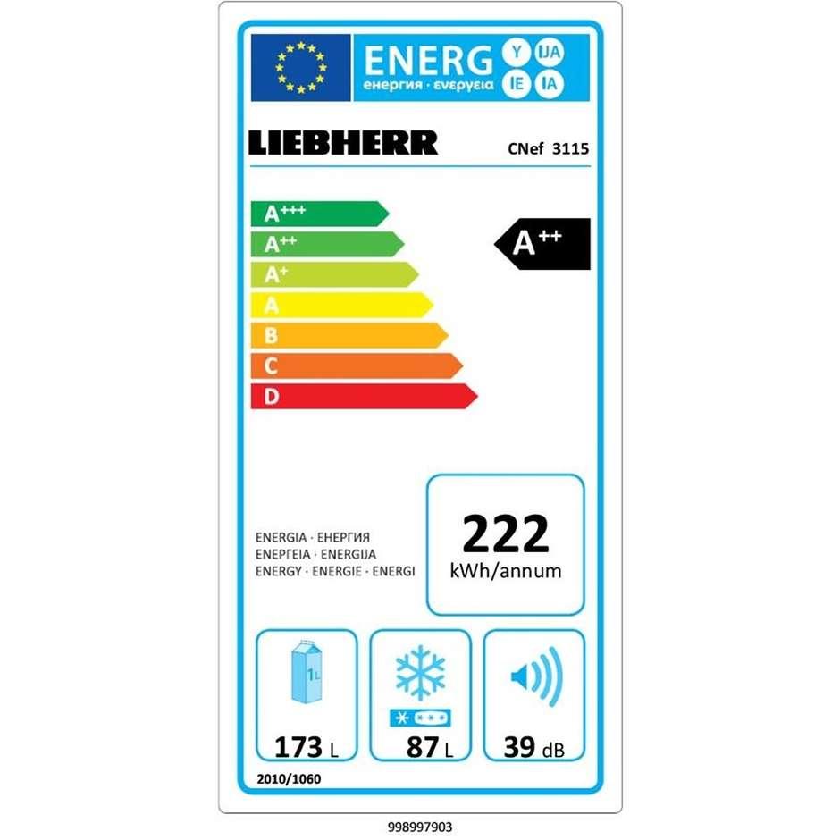 Liebherr CNef 3115 Comfort Frigorifero combinato 260 litri Classe A++ Ventilato/NoFrost colore argento