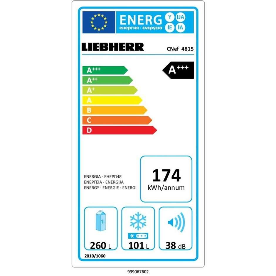 Liebherr CNef 4815 Frigo Combinato 361 L classe A+++ Total No Frost Argento