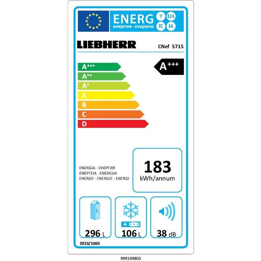 Liebherr CNEF 5715 Frigorifero Combinato 402 L Classe A+++ Ventilato/ NoFrost Colore Argento