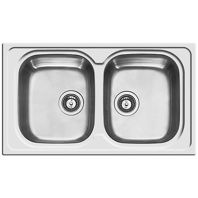 lik450sac elleci lavello inox sky 400 86x50 2 vasche satinato cartone con foro rubinetto