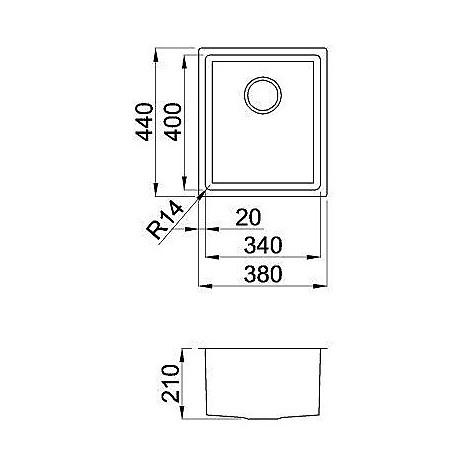 liq340sac14 elleci lavello inox square 340 380x440 1 vasca satinato cartone r14