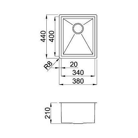 liq340sacun elleci lavello inox square 340 380x440 1 vasca satinato cartone sottotop
