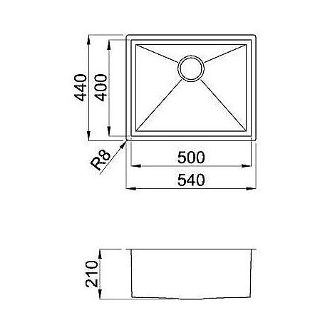 liq500sacun elleci lavello inox square 500 540x440 1 vasca satinato cartone sottotop