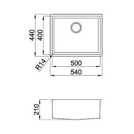 liq500sacun14 elleci lavello inox square 500 540x4 1 vasca satinato cartone r14 sottotop