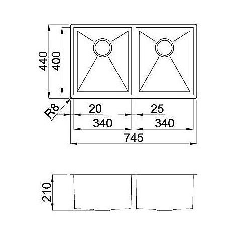 liq720sac2u elleci lavello inox square 720 780x440 2 vasche satinato cartone sottotop