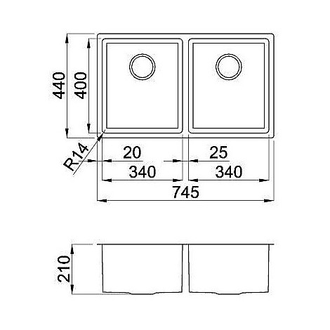 liq720sac2v14 elleci lavello inox square 720 780x4 2 vasche satinato cartone r14
