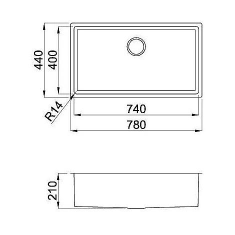 liq720sacun14 elleci lavello inox square 720 780x4 1 vasca satinato cartone r14 sottotop