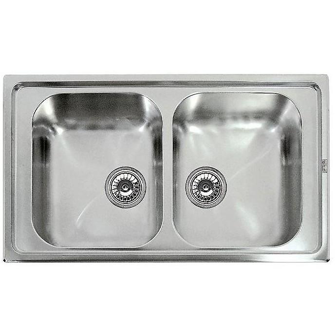 lir450sac elleci lavello inox river 450 86x50 2 vasche satinato cartone