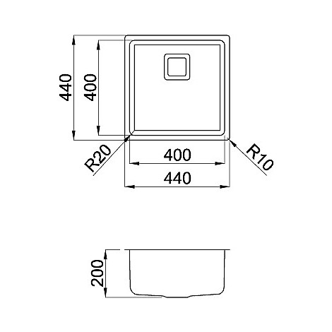 liw400sacmu elleci lavello inox w-square 40x40 1 vasca satinato cartone r25