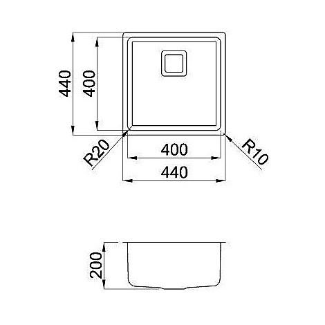liw400sacun elleci lavello inox w-square 40x40 1 vasca satinato cartone r25 sottotop