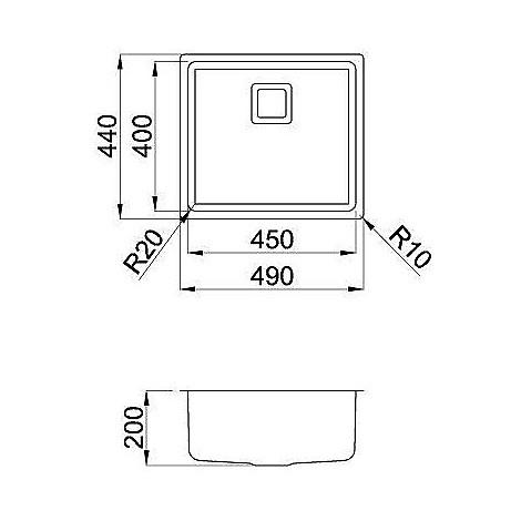 liw450sacun elleci lavello inox w-square 45x40 1 vasca satinato cartone r25 sottotop