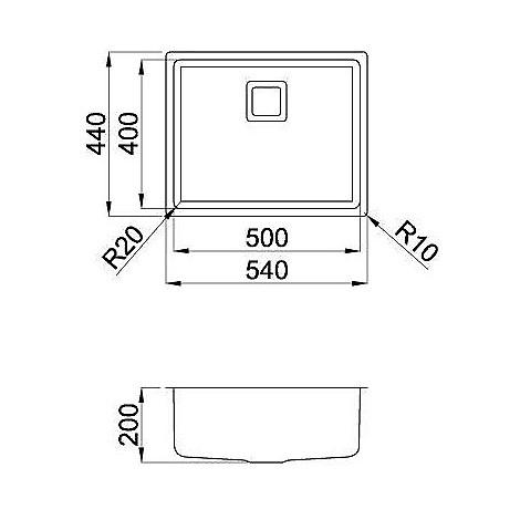 liw500sacun elleci lavello inox w-square 50x40 1 vasca satinato cartone r25 sottotop