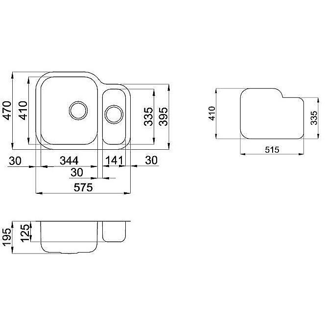 lix250sacrsun elleci lavello inox special 250 620x490 2 vasche satinato cartone vasca sx